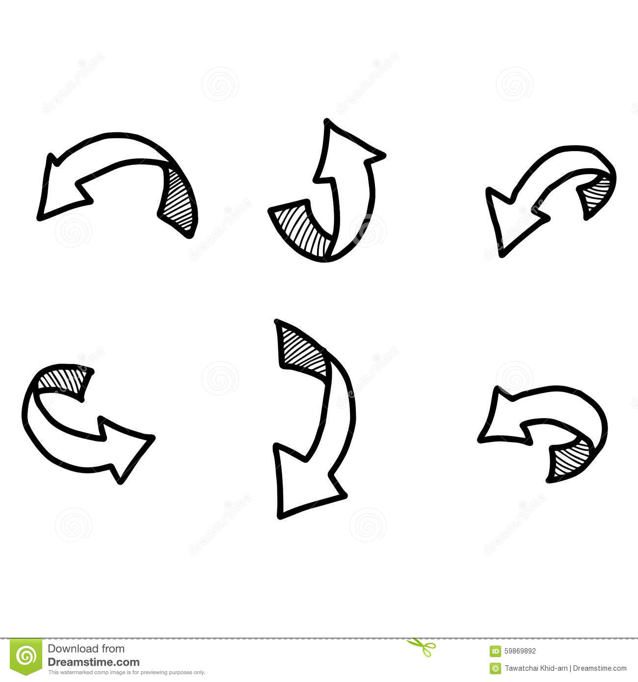 Illustration Vector Doodles Hand Drawn Curved Arrow With Shadow