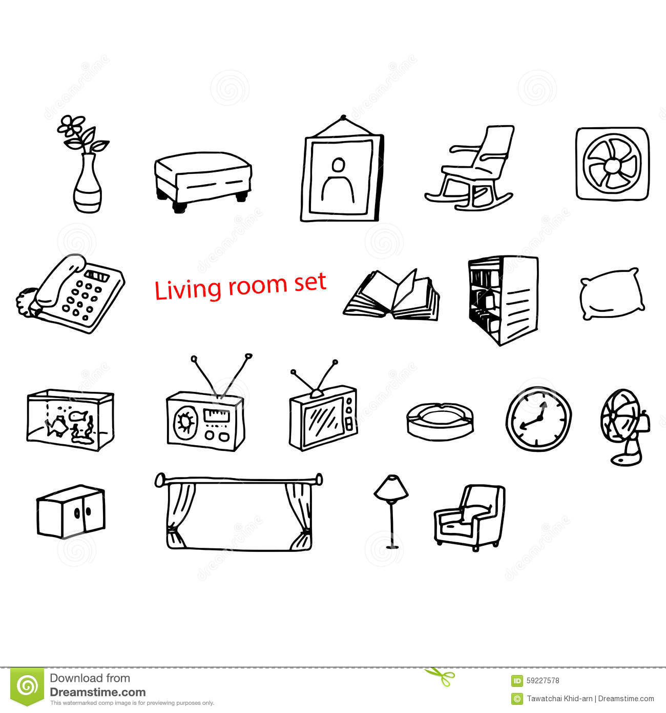 Amazing Illustration Vector Doodles Hand Drawn Objects In Living Room