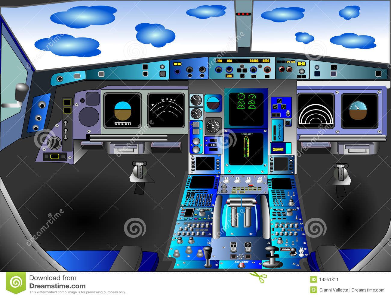 Illustration Vector Flight Deck Cockpit