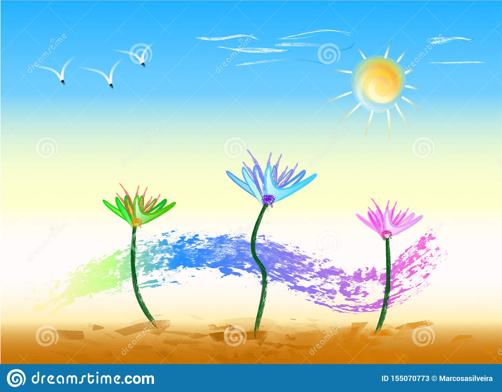Dance of Flowers on a Sunny Day, Landscape in Color Stock Vector -  Illustration of presented, clouds: 155070773