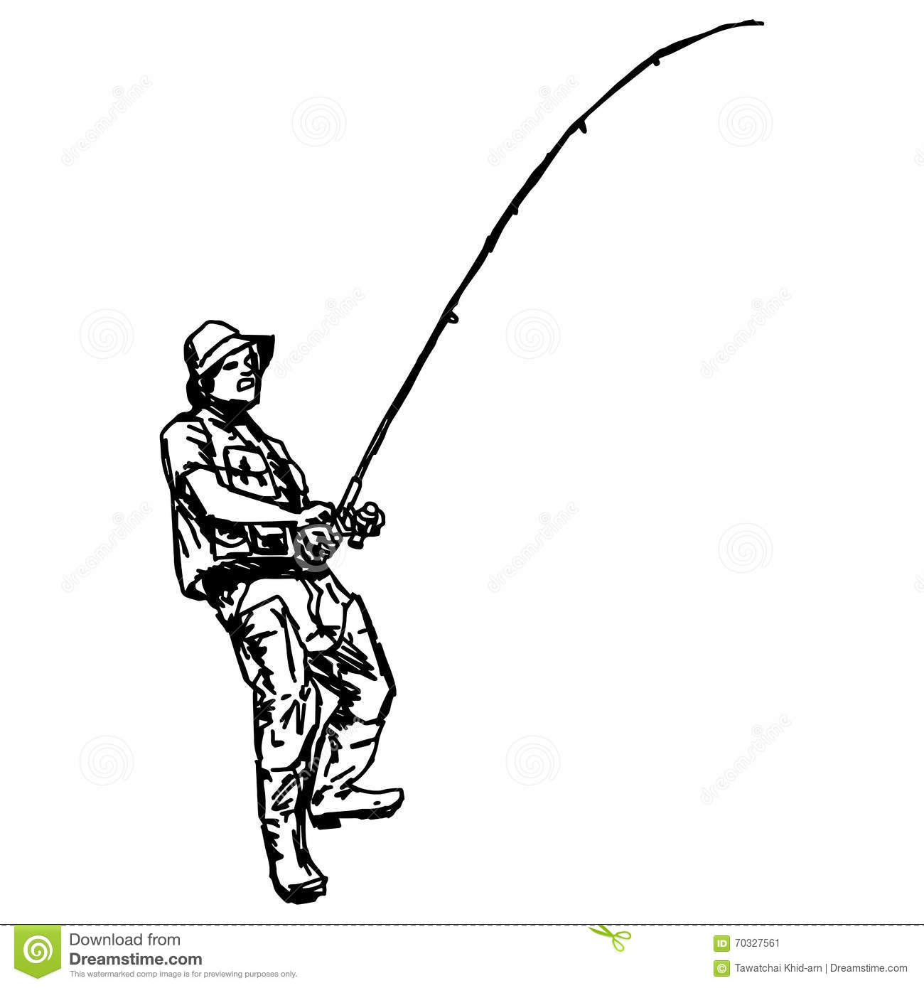 Illustration vector hand draw doodles of fisherman stock for Wyoming game and fish draw results