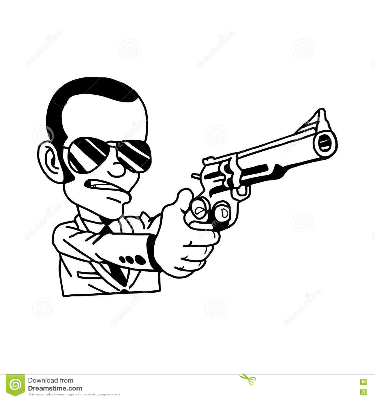This is a graphic of Superb Man Holding Gun Drawing