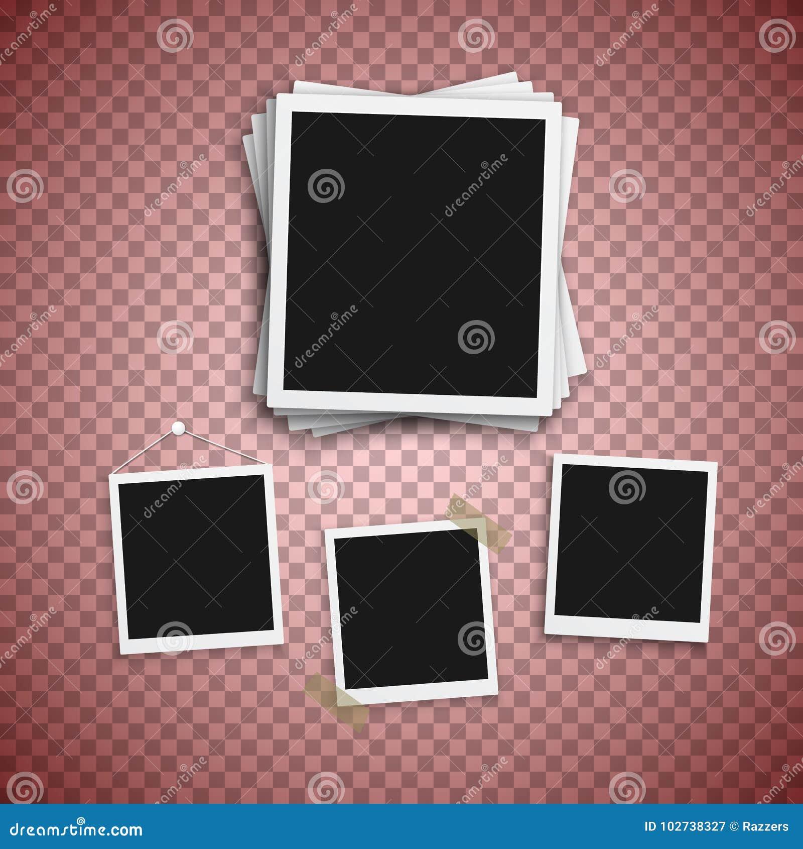 vector photo frame realistic snapshot modern photo instant album