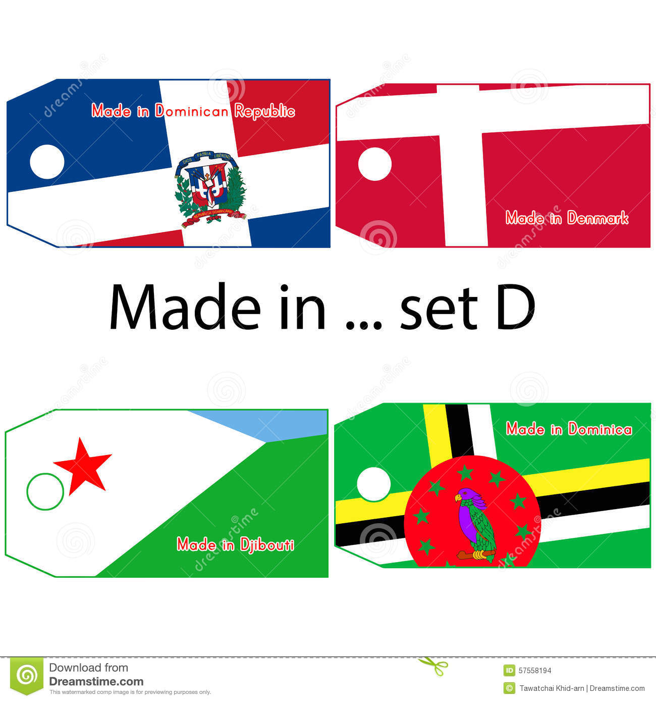 countries that start with the letter d illustration vector price tag with word made in country s 20985