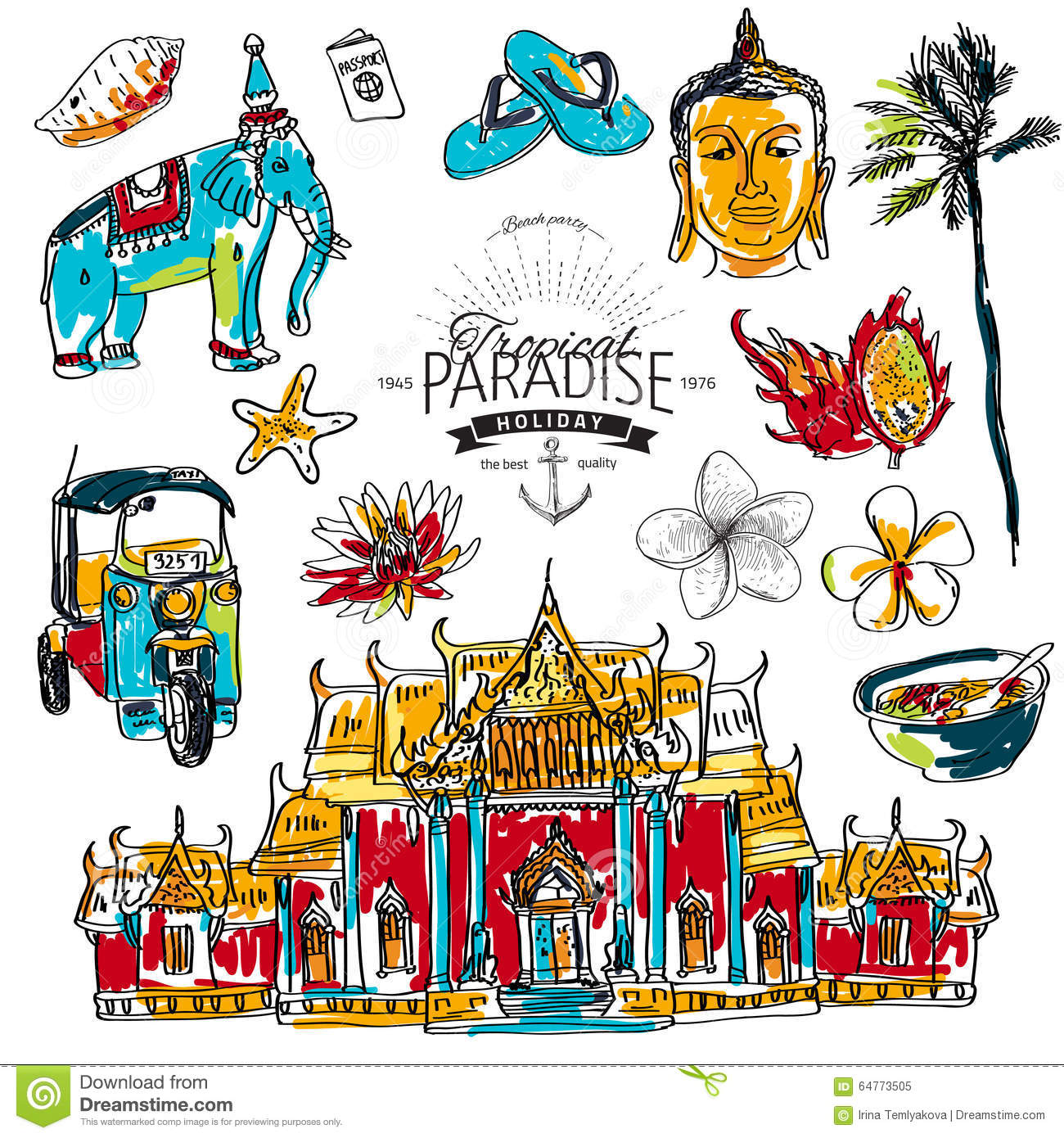 Illustration Of Vector Set Of Thailand Stock Illustration - Image: 64773505