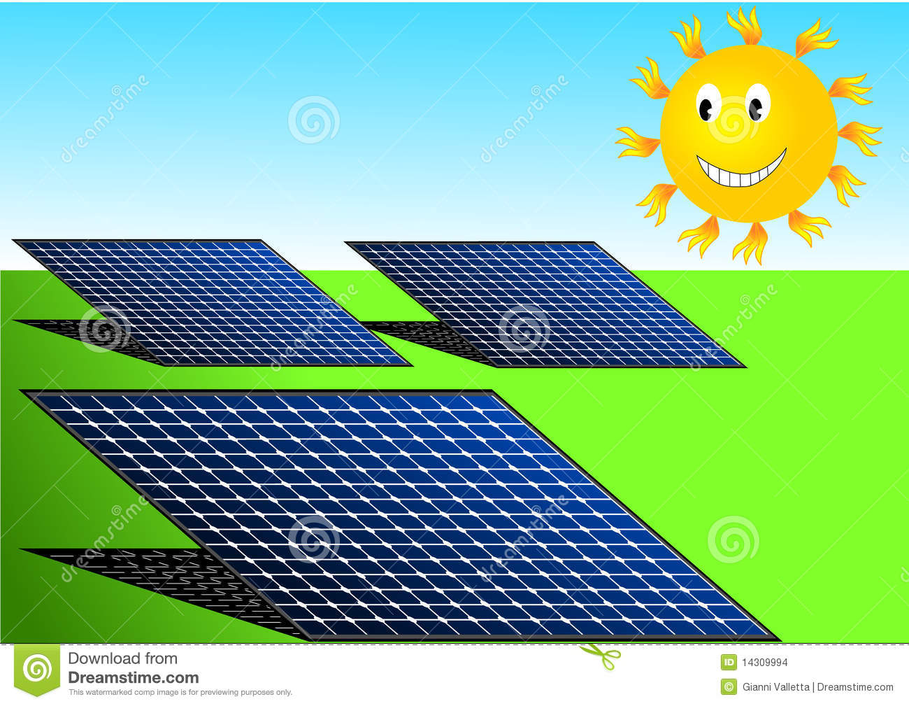 Illustration vector of solar panels and smiling sun that produces ...