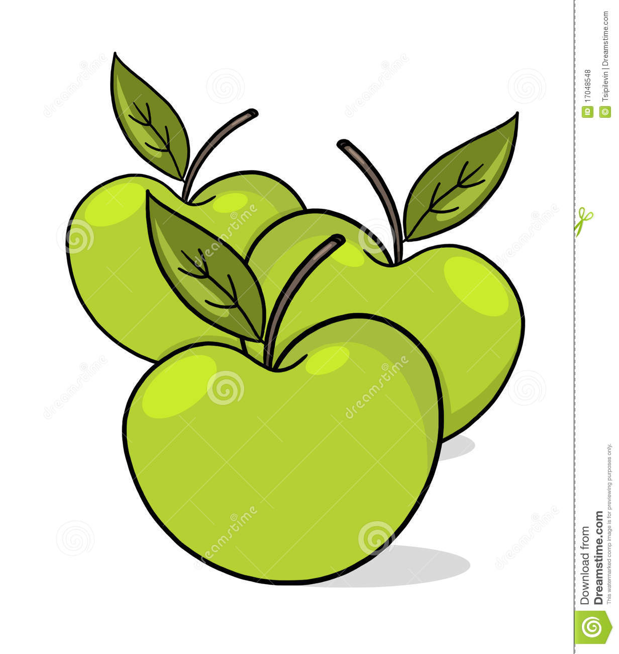 Illustration verte de pommes photos libres de droits - Dessin pomme apple ...