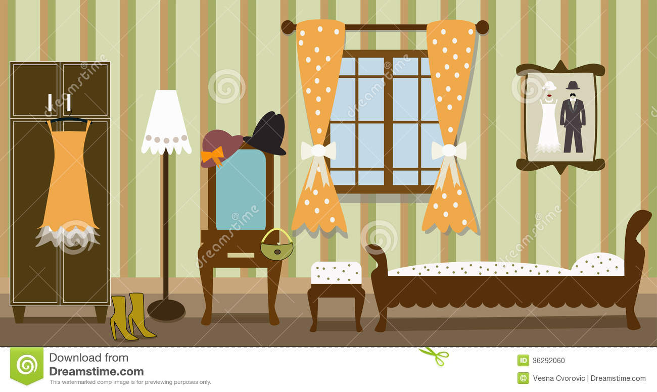 Illustration Of Vintage Bedroom Stock Vector Image 36292060