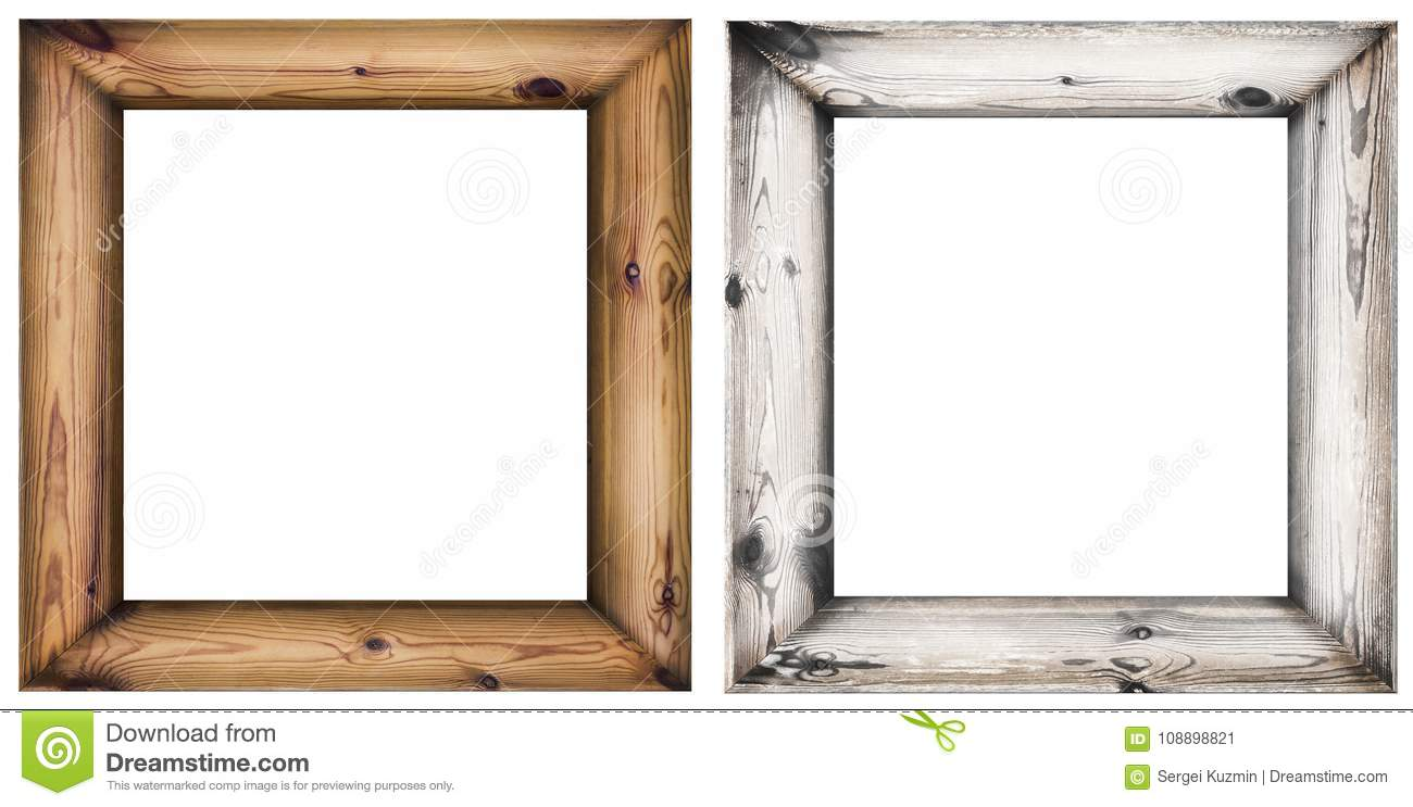 Set Of Wooden Frames Isolated On White Stock Illustration ...