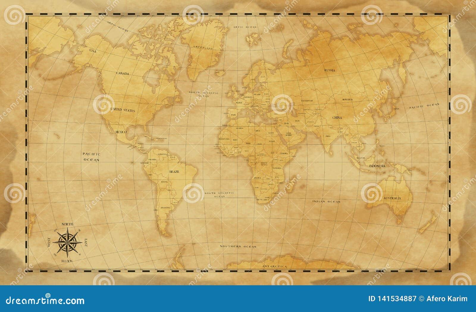 Vintage style world map background