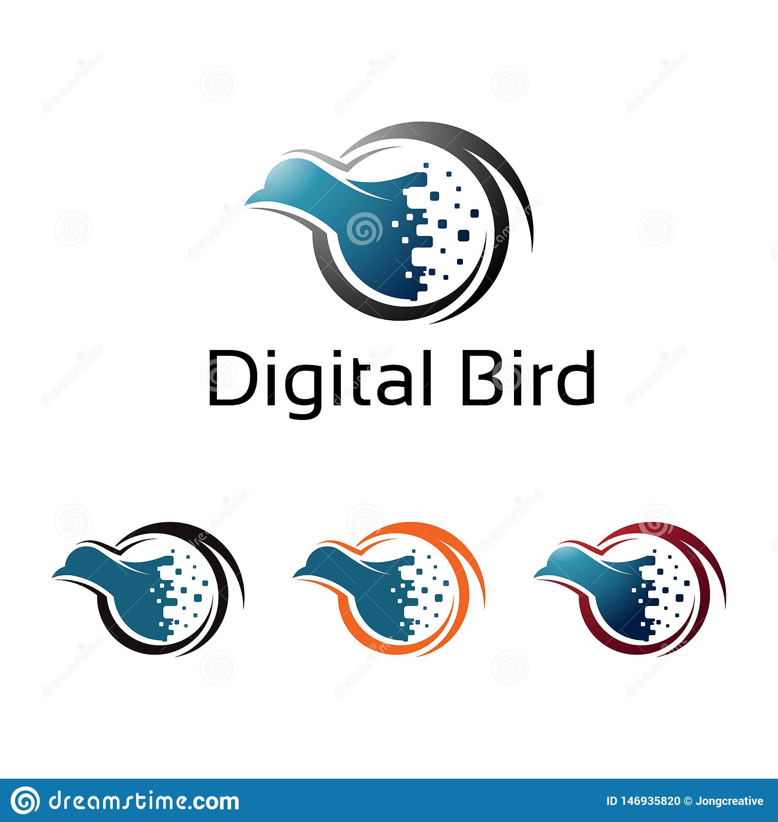 Illustration virtuelle d ordinateur d Internet de pixel d oiseau de Digital