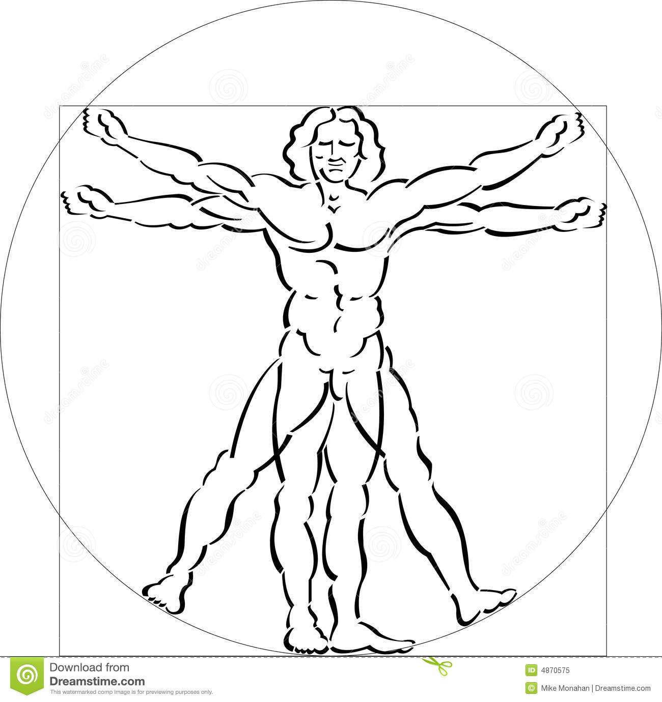 An illustration of a Vitruvian man in a square and a circle. Made ...