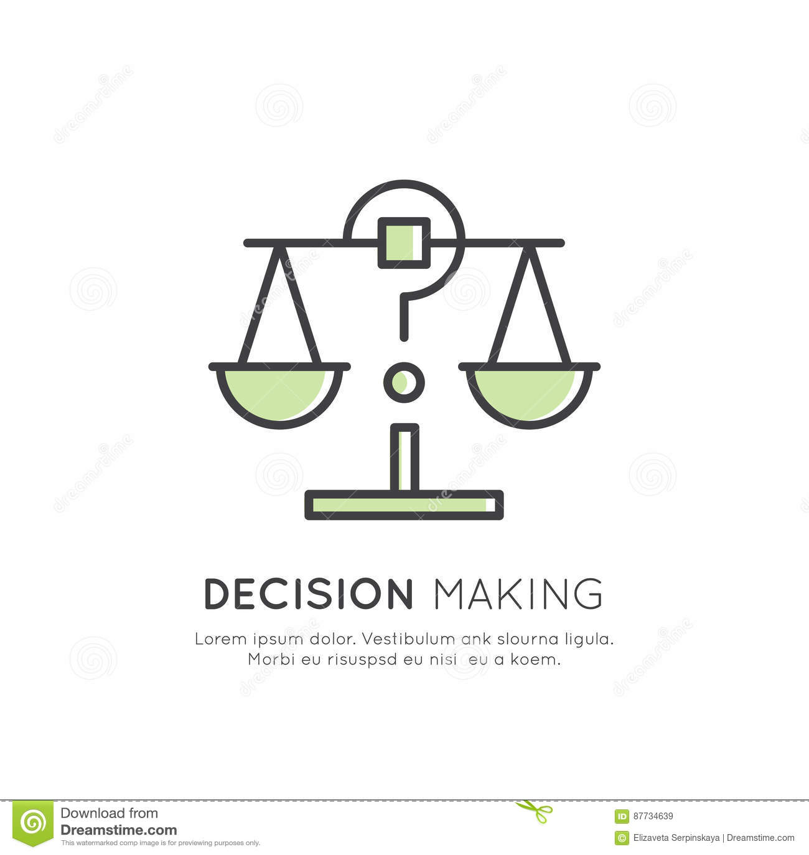 Illustration von Analytik, Management, Geschäfts-denkende Fähigkeit, Beschlussfassung, Zeit-Management, Gedächtnis, Sitemap, a ge