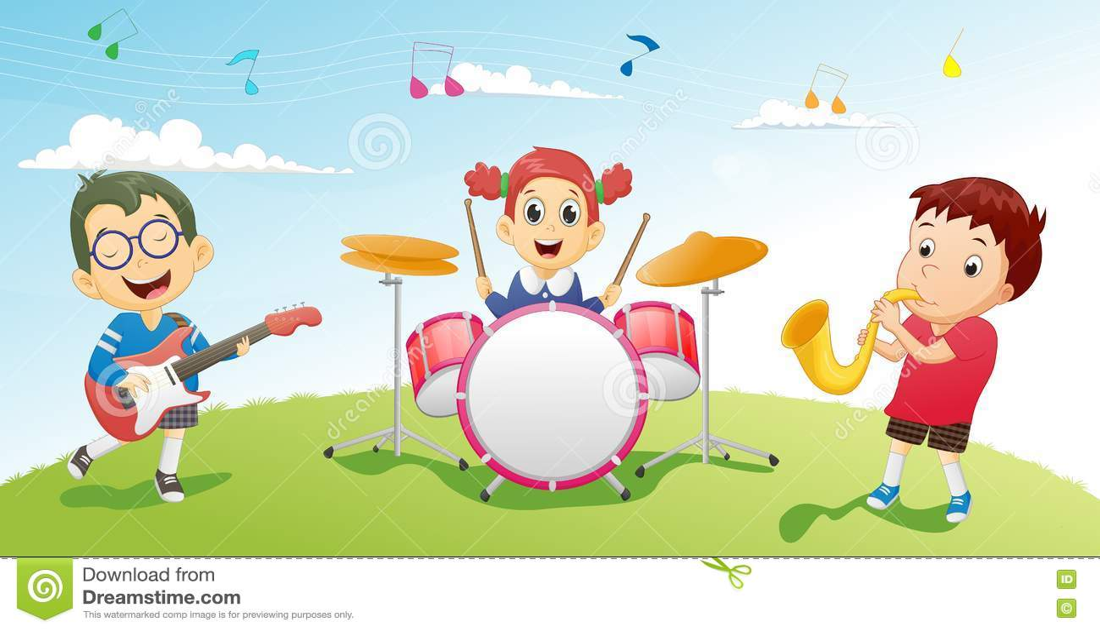 Illustration von den Kindern, die Musikinstrument spielen