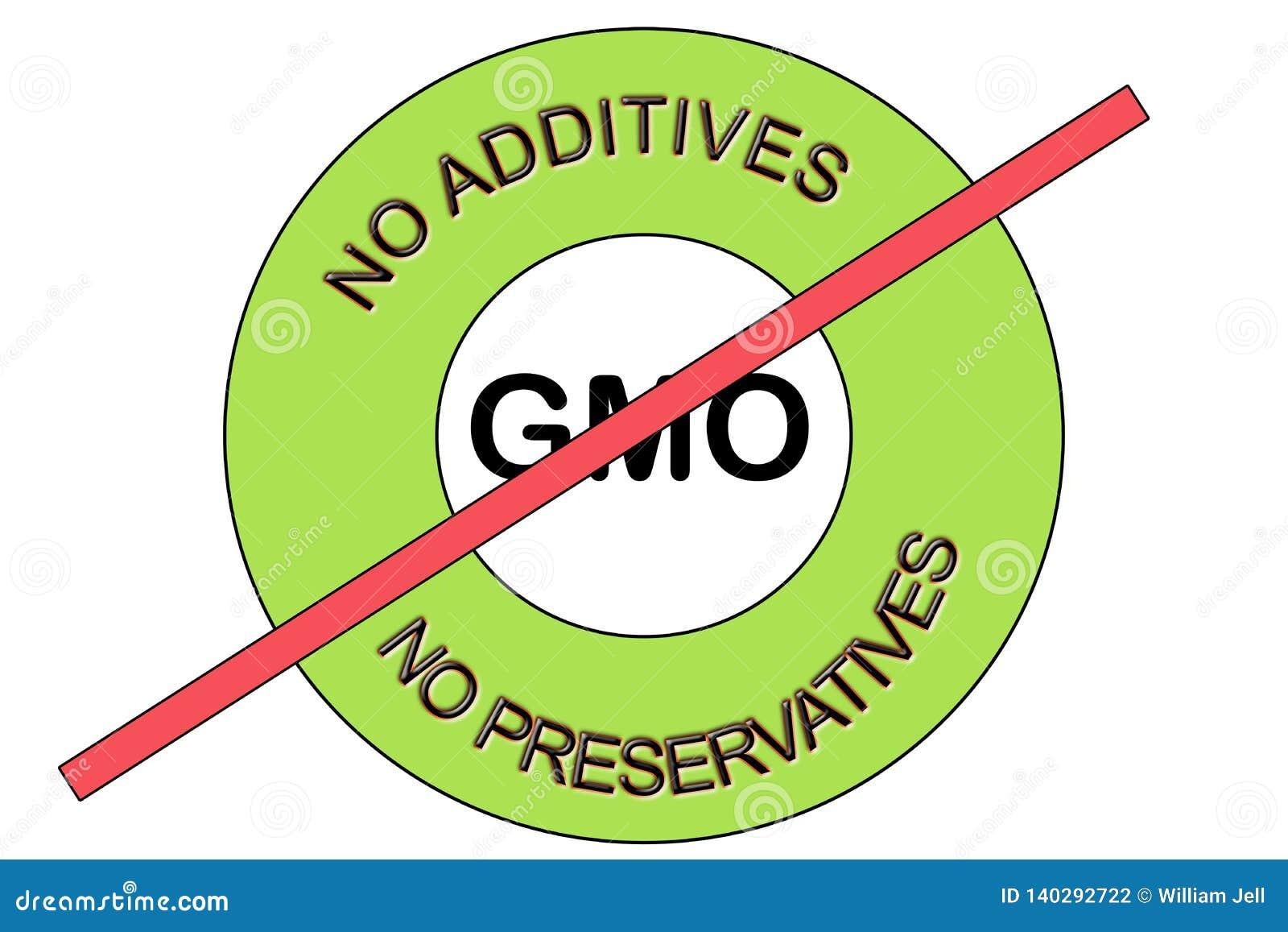 Illustration von einem Grünen kein GMO nicht GMO keine Konservierungsmittel kein Zusatzstempelsiegel