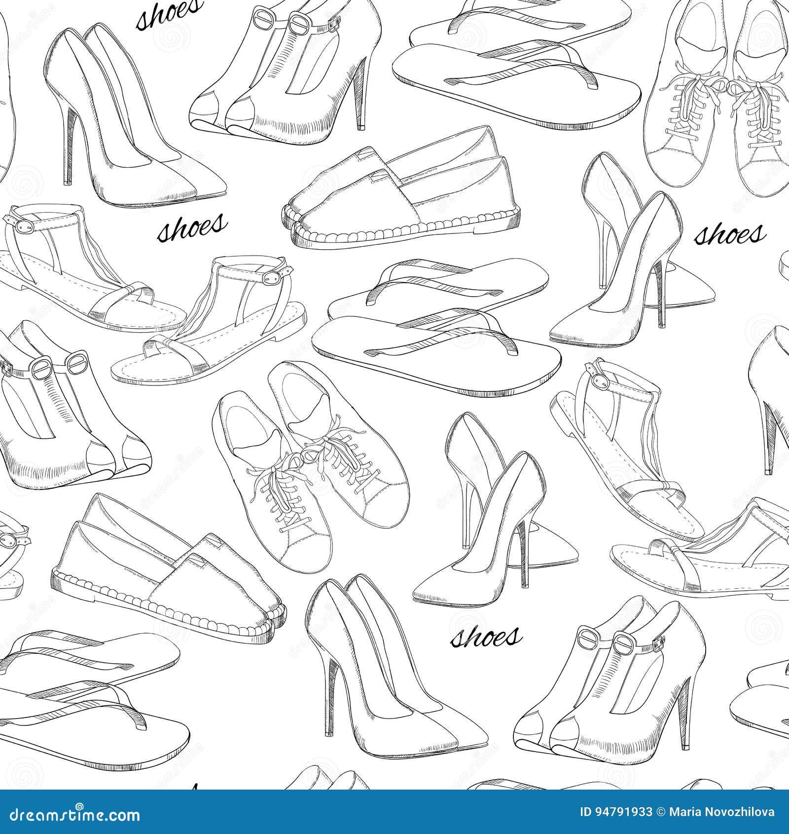 online retailer 5fe8e 50161 Illustration Von Hand Gezeichneten Nahtlosen Muster Frauen ...