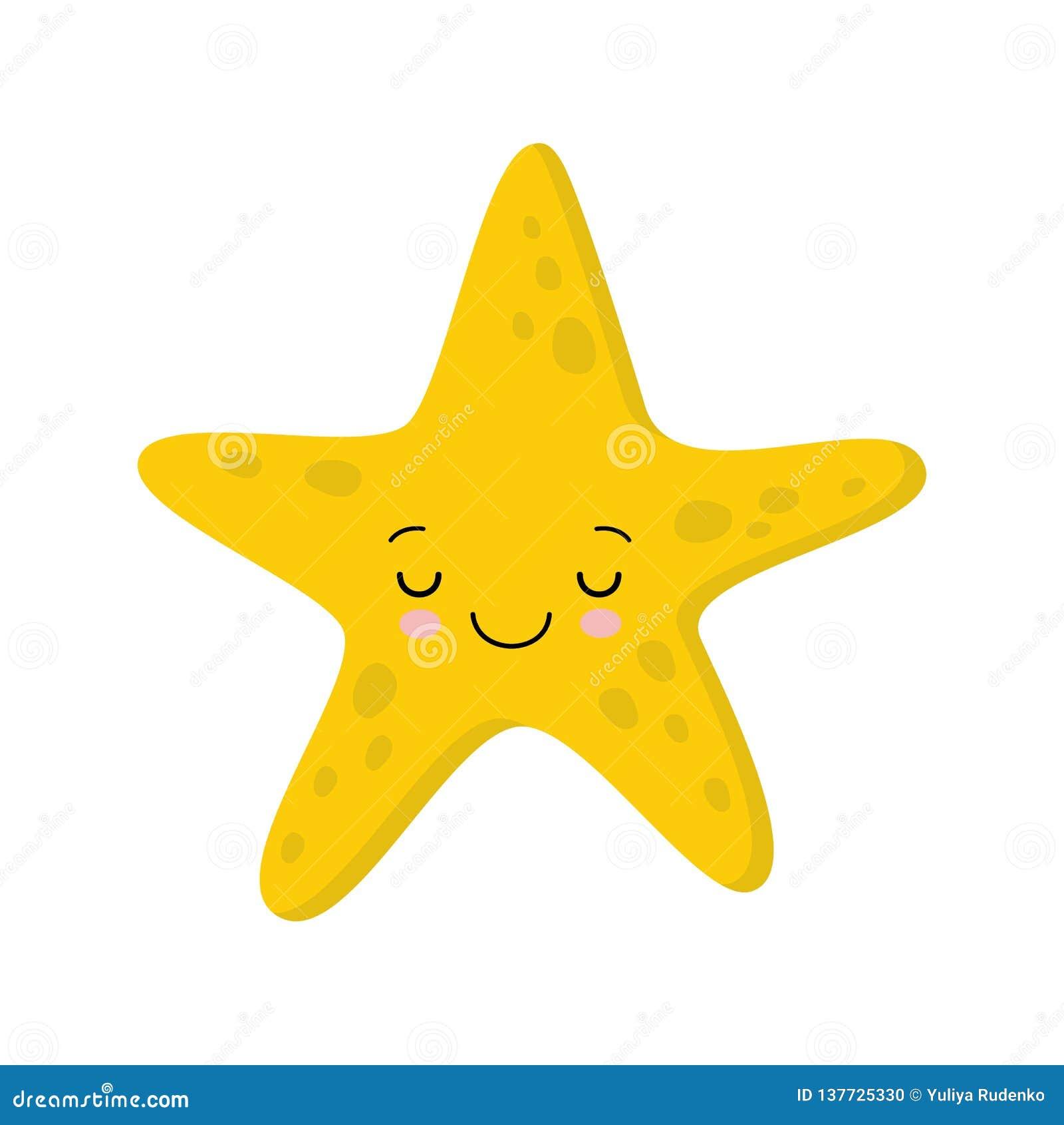 Illustration von lächelnden Schlafen netten Starfish Flaches kawaii Art des Vektors
