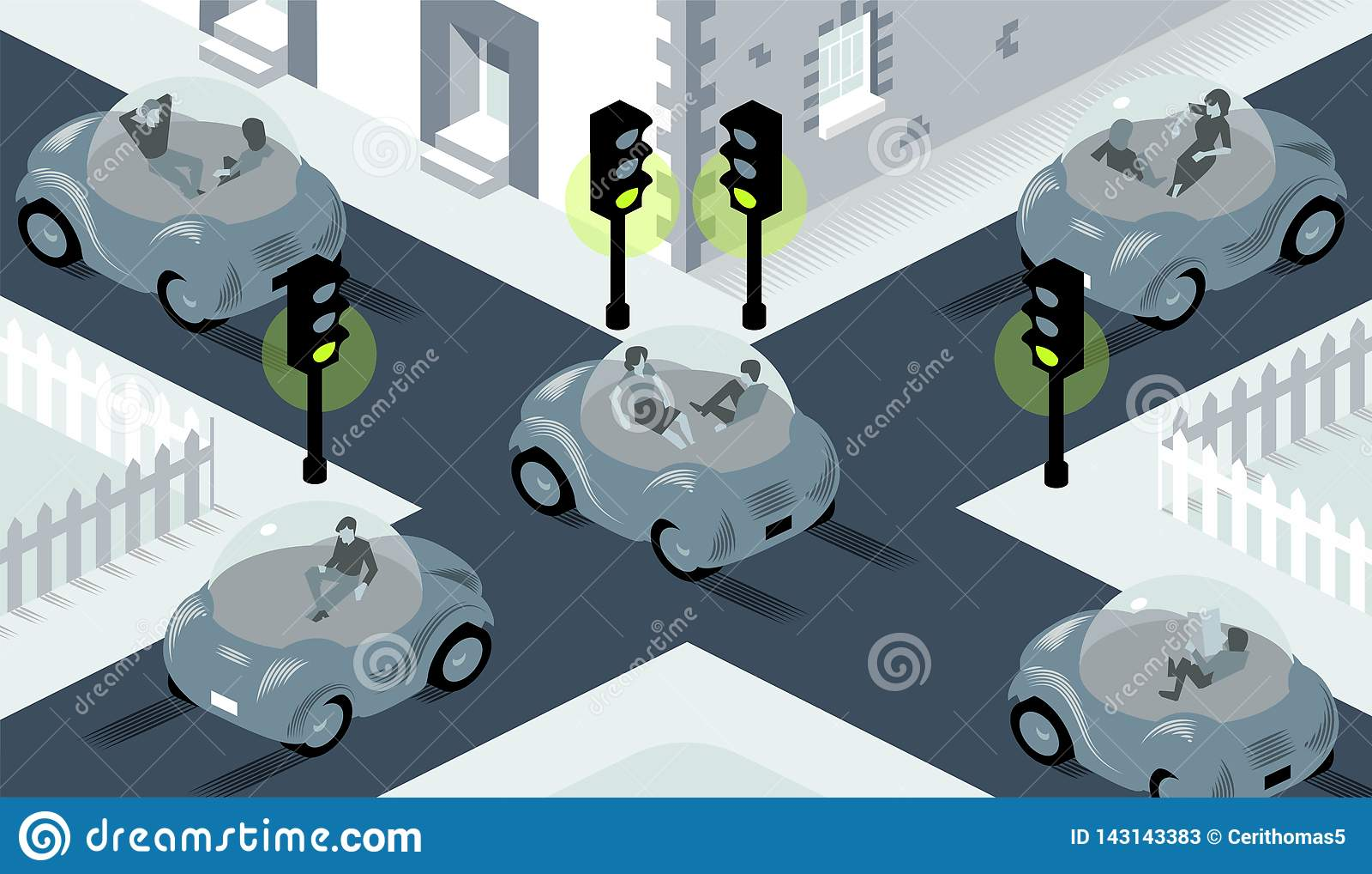 Illustration von Selbst die Autos fahrend, die auf beschäftigtem Schnitt kreuzen, in dem Lichter ganz eingestellt werden, um zu g