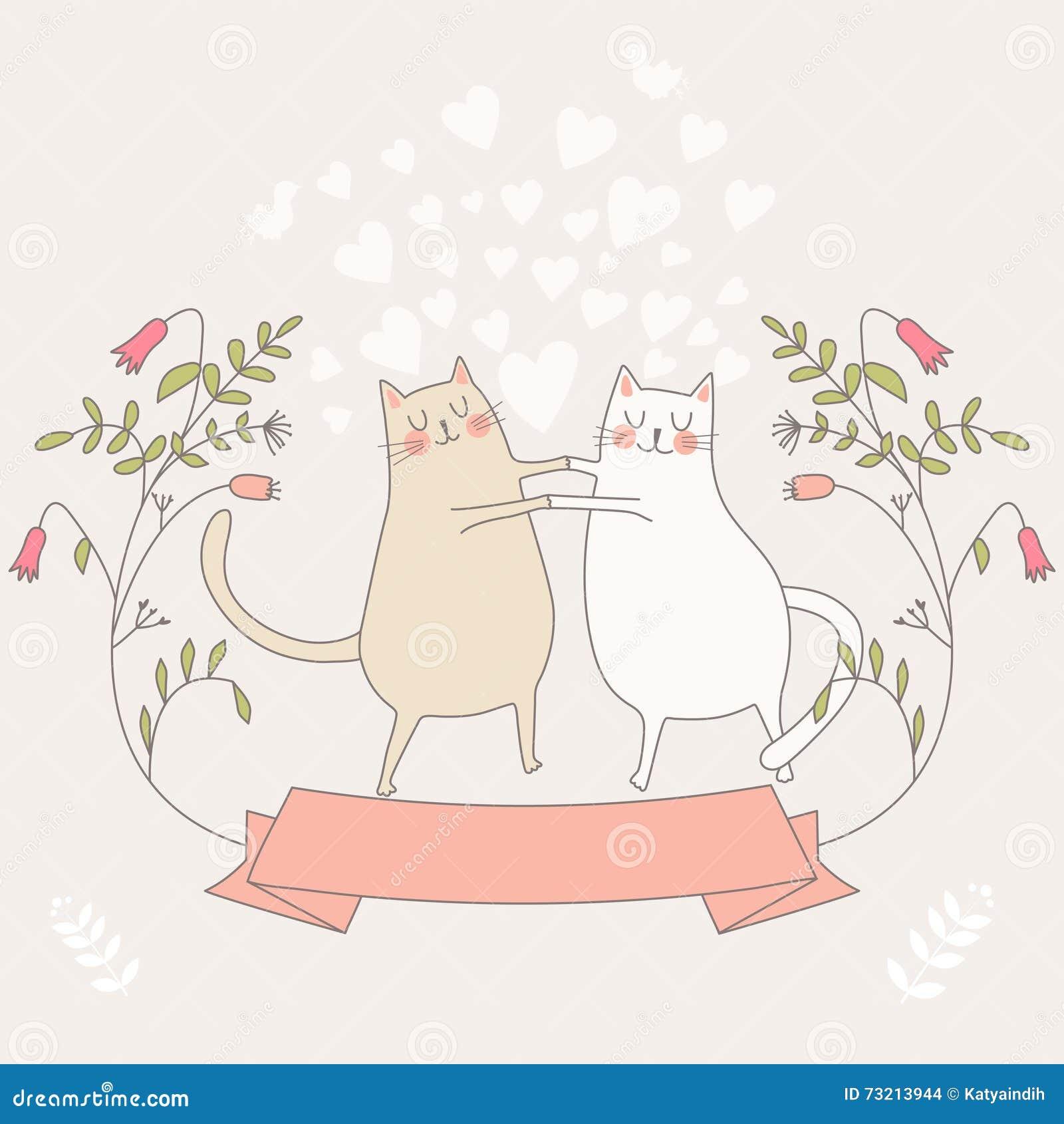 Illustration von zwei in den Liebeskatzen