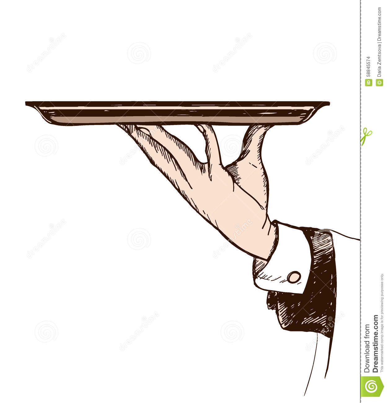 Illustration Of Waiters Hand Holding A Tray Stock Vector ...
