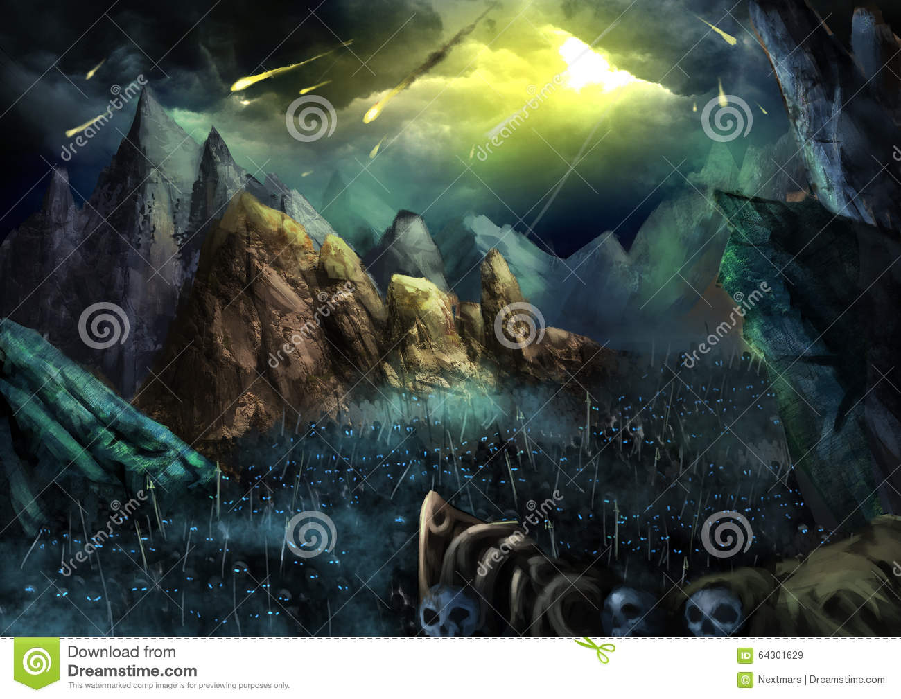 Illustration: War is going to begin! Fire Ball fall from Sky. The Dark Skeleton Armies Marching in the Valley.