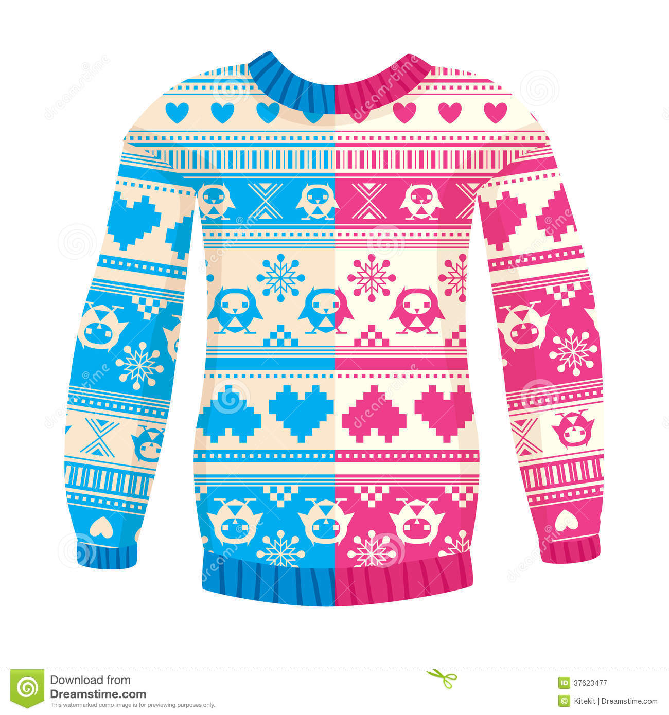 20069ec37135 Illustration Of Warm Sweater With Owls And Hearts Stock Vector ...