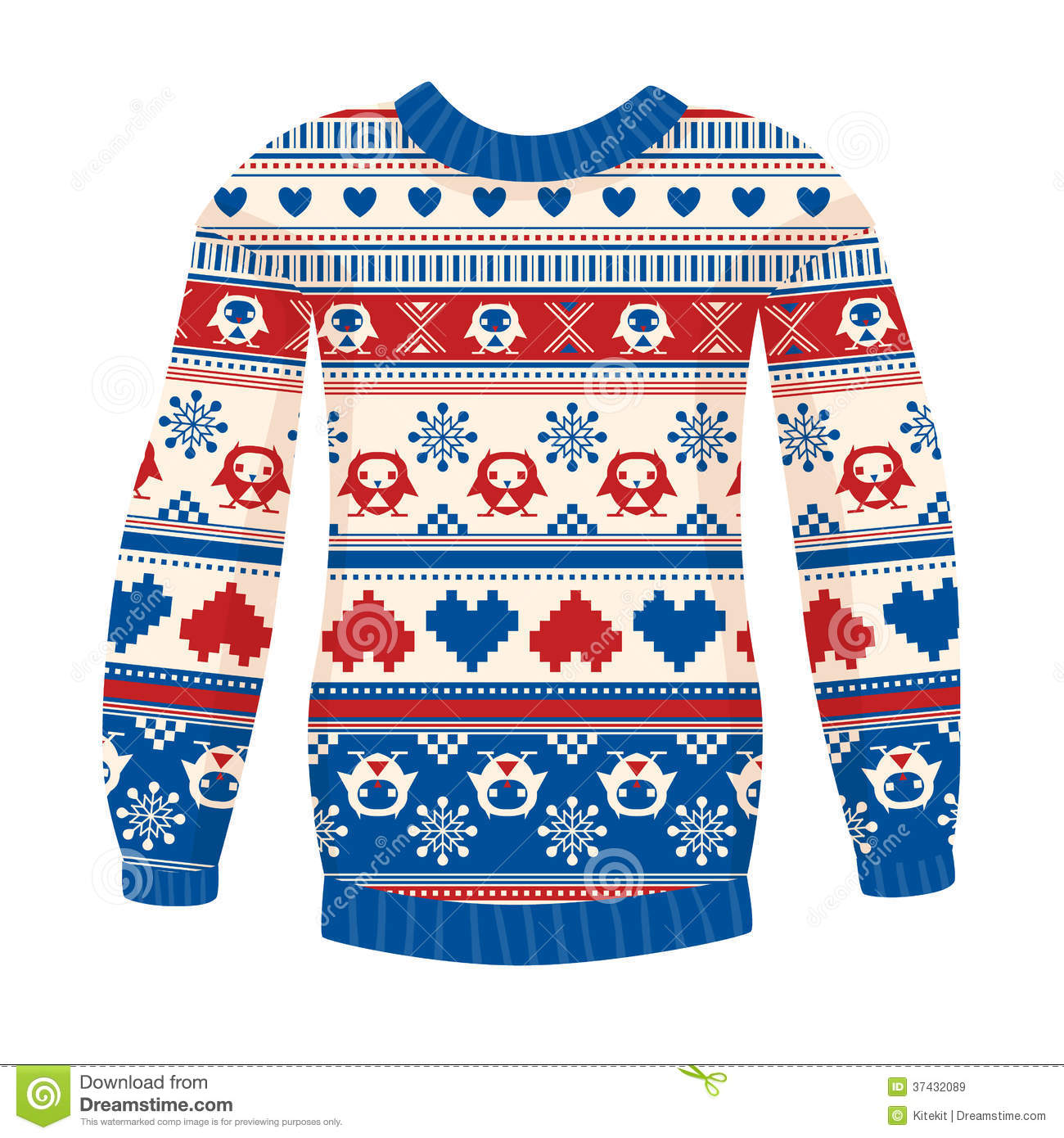 797db23ed962 Illustration Of Warm Sweater With Owls And Hearts. Red-Blue Version ...