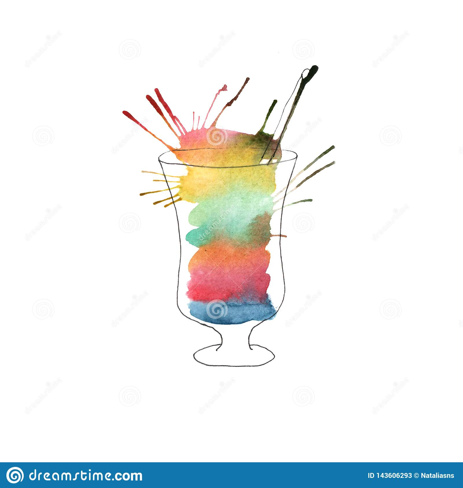 Illustration of watercolor cocktail