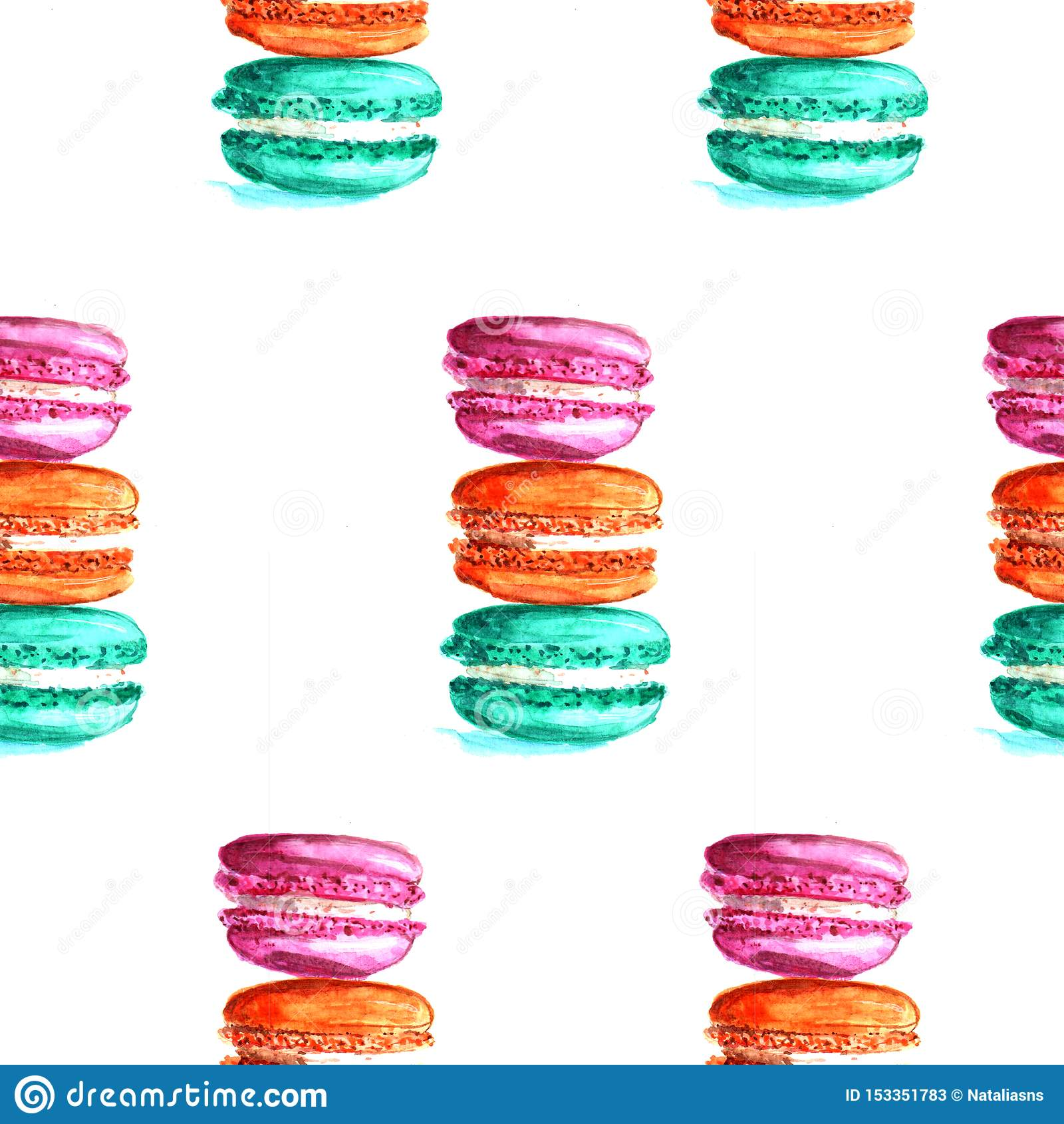 Illustration watercolor pattern macaroons