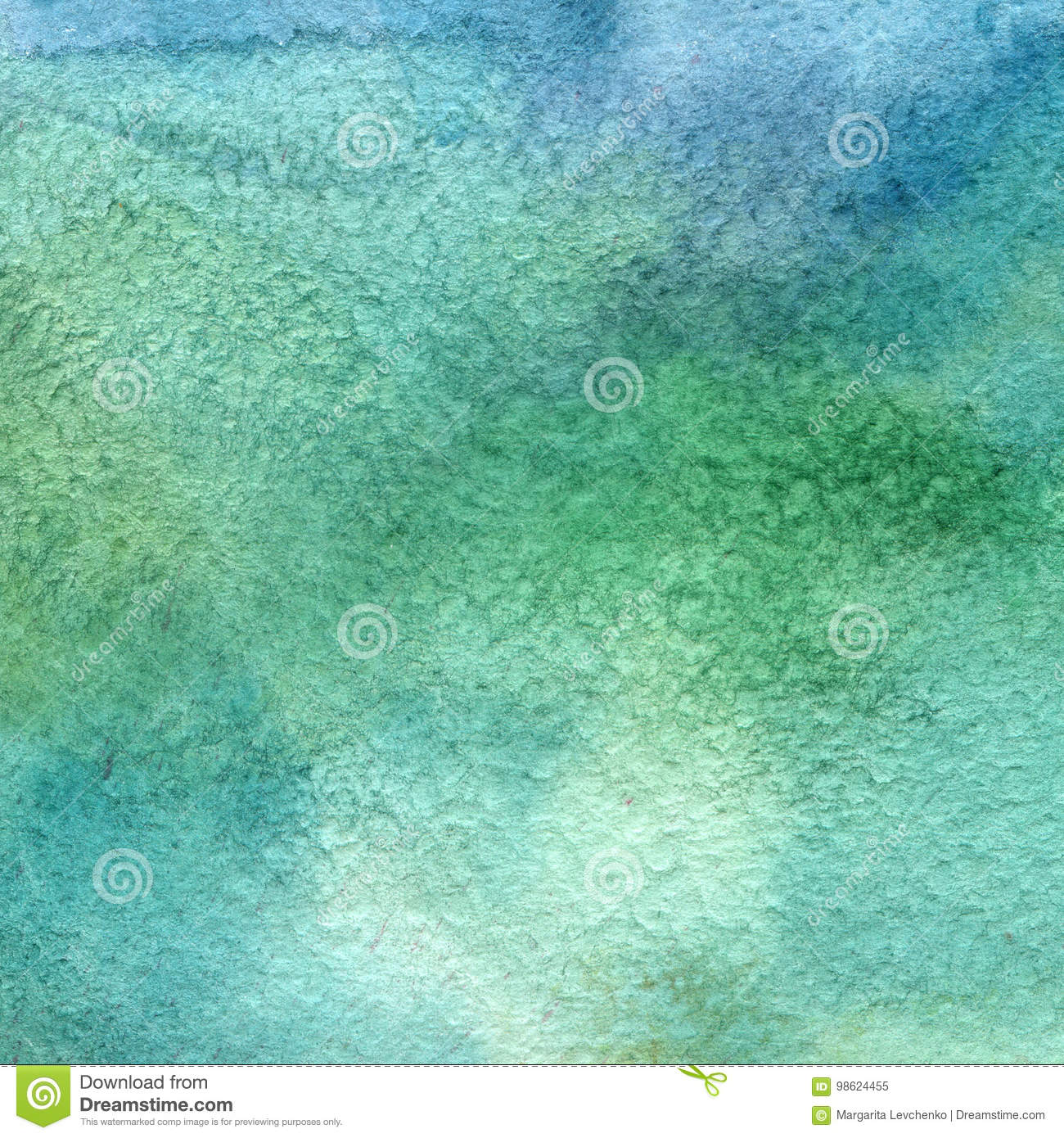 Illustration of a watercolor texture of blue and green colors. Watercolor abstract background, blots, blur, fill, print, spray, ru