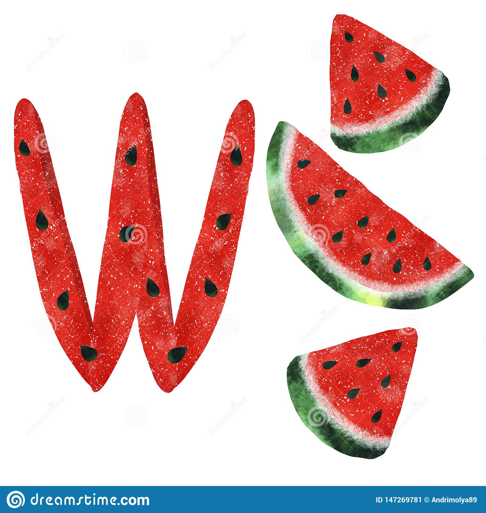 Illustration with watercolor watermelon