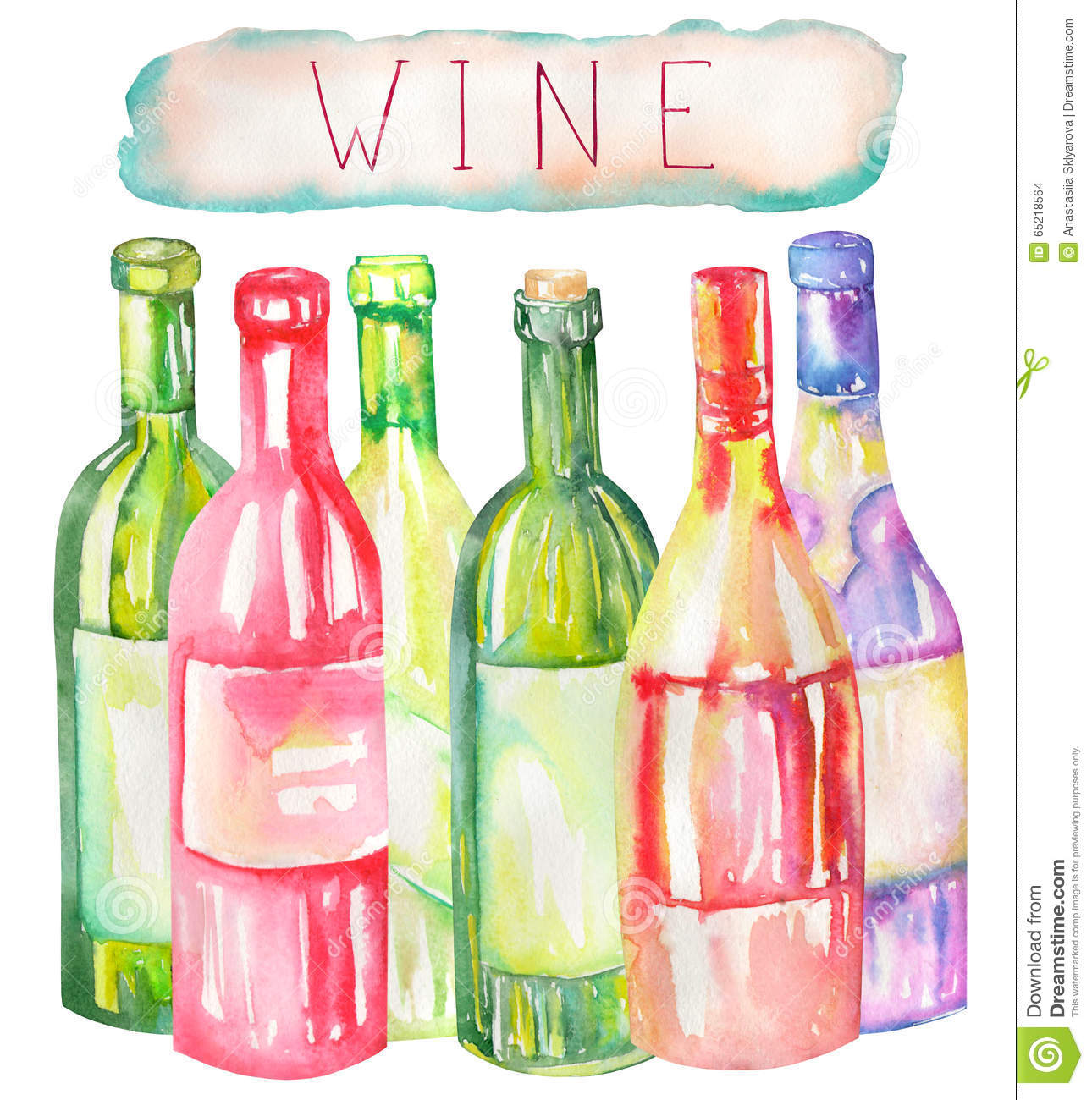 An Illustration Of The Watercolor Wine Bottles Painted Hand Drawn In A On White Background Stock Restaurant Champagne 65218564