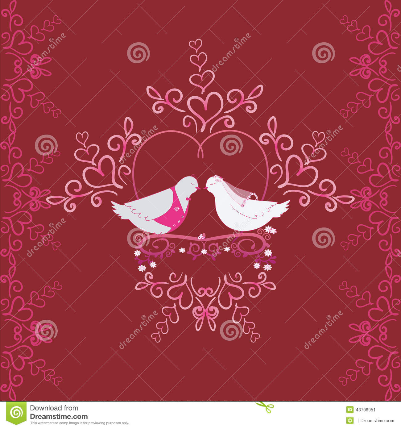 Illustration Of Wedding Pigeons And Heart. Seamless Texture Or Card ...