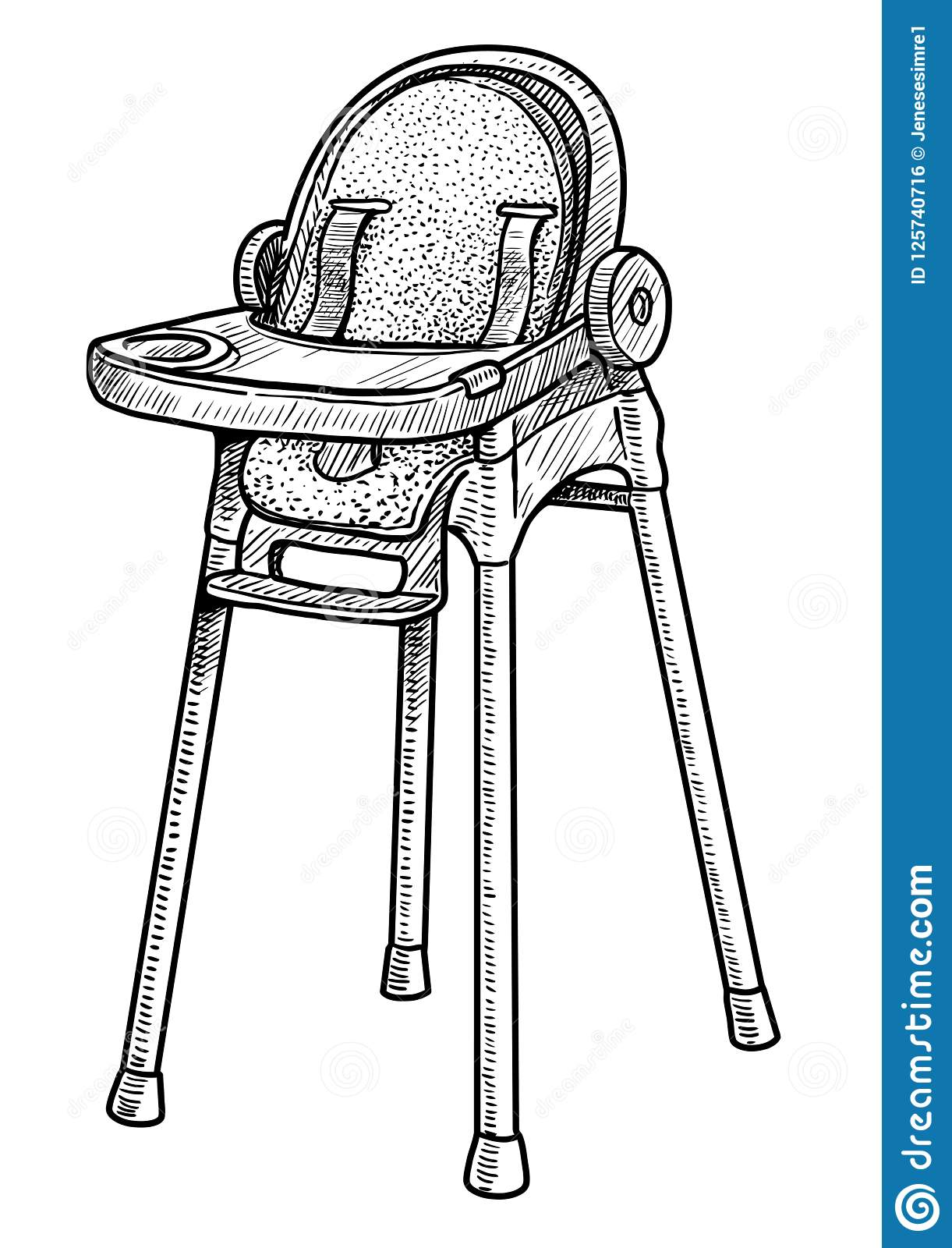 Baby Chair Illustration, Drawing, Engraving, Ink, Line Art