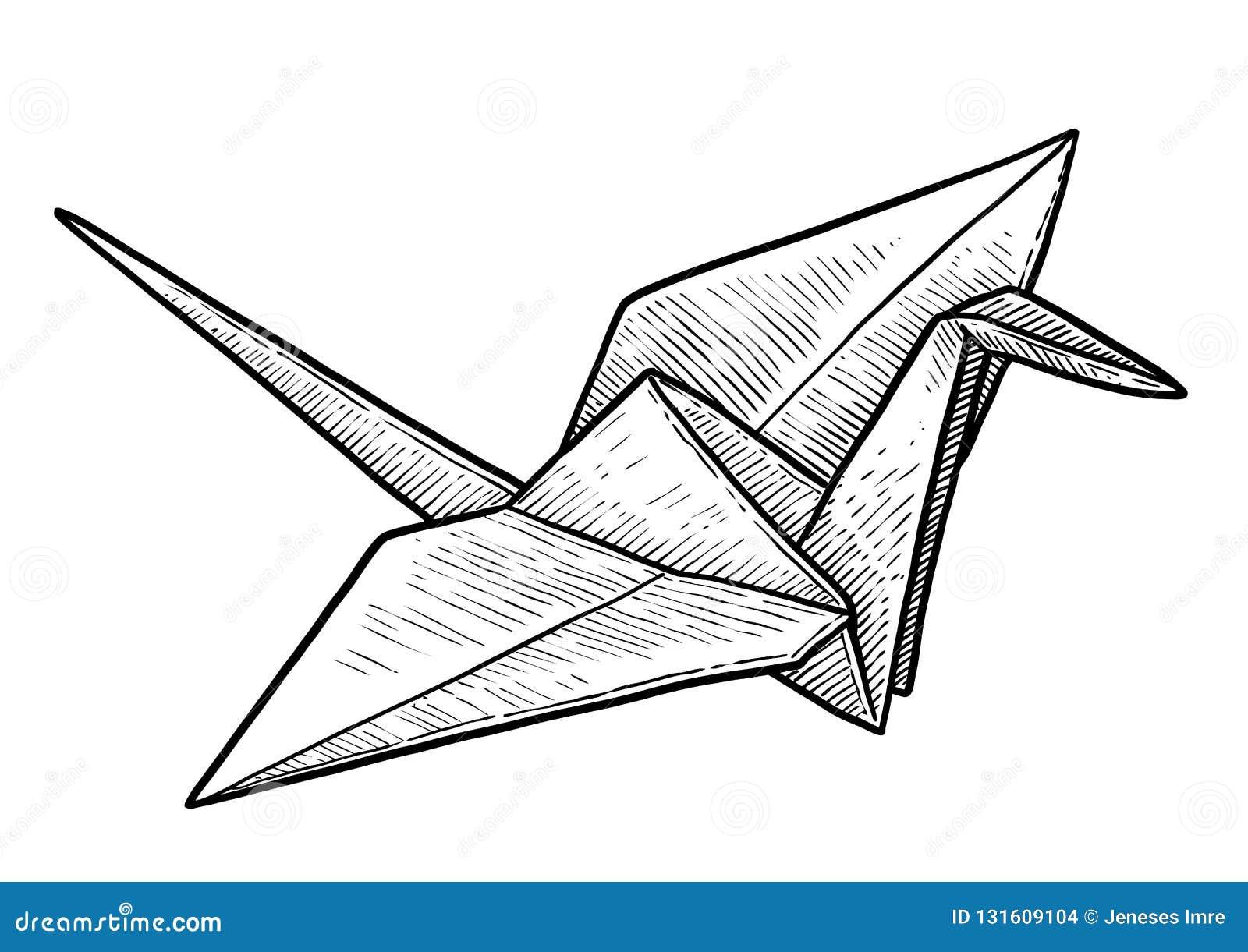 Crane Origami Illustration Drawing Engraving Ink Line Art