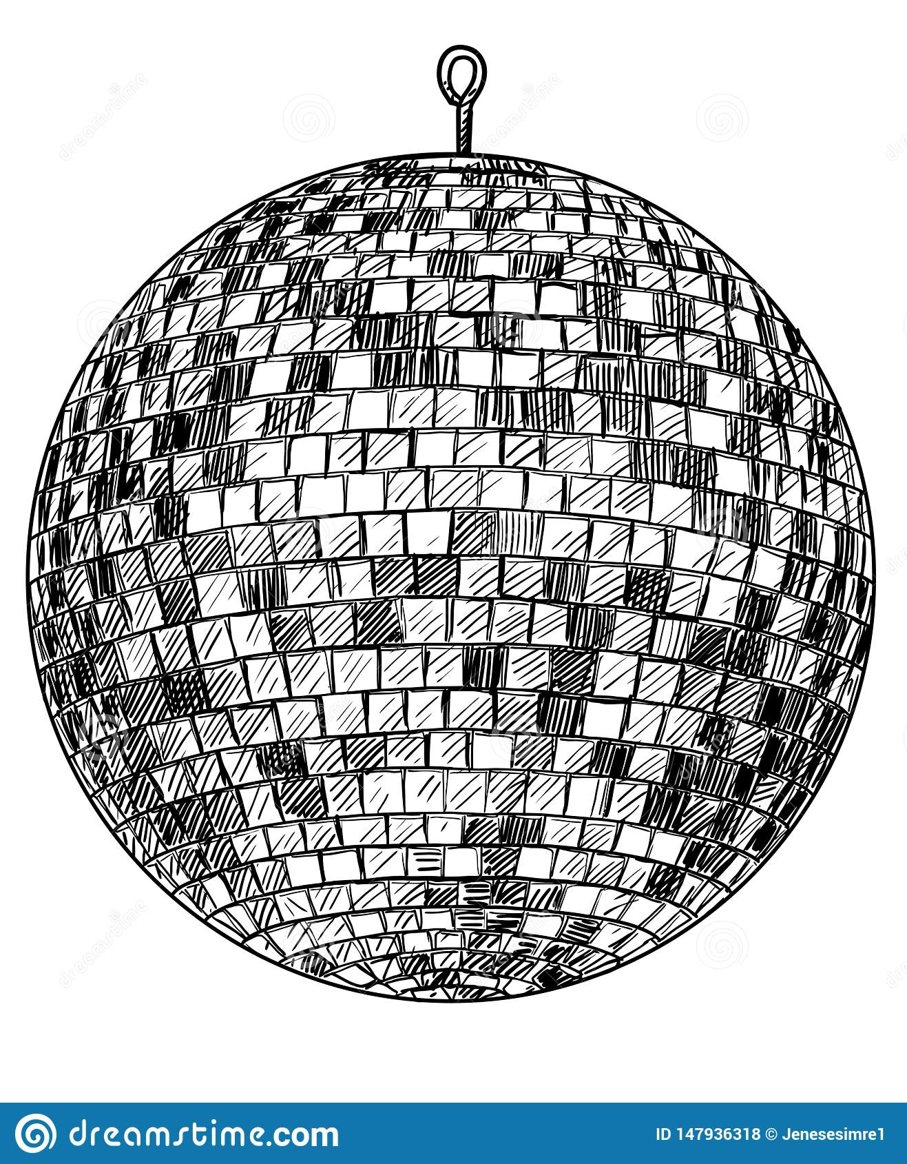 disco illustration drawing engraving ink line