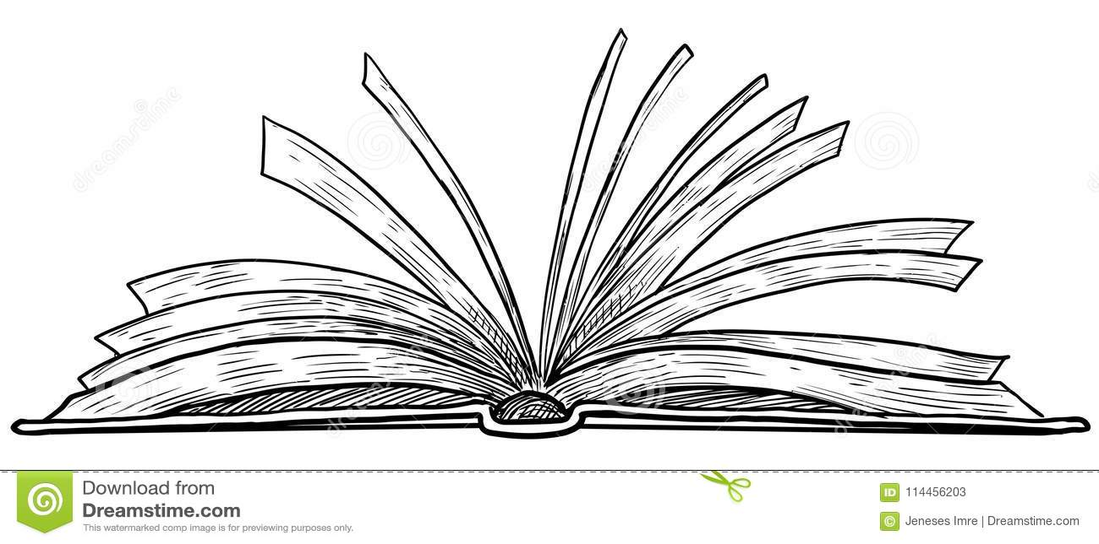 Open Book Illustration, Drawing, Engraving, Ink, Line Art ...