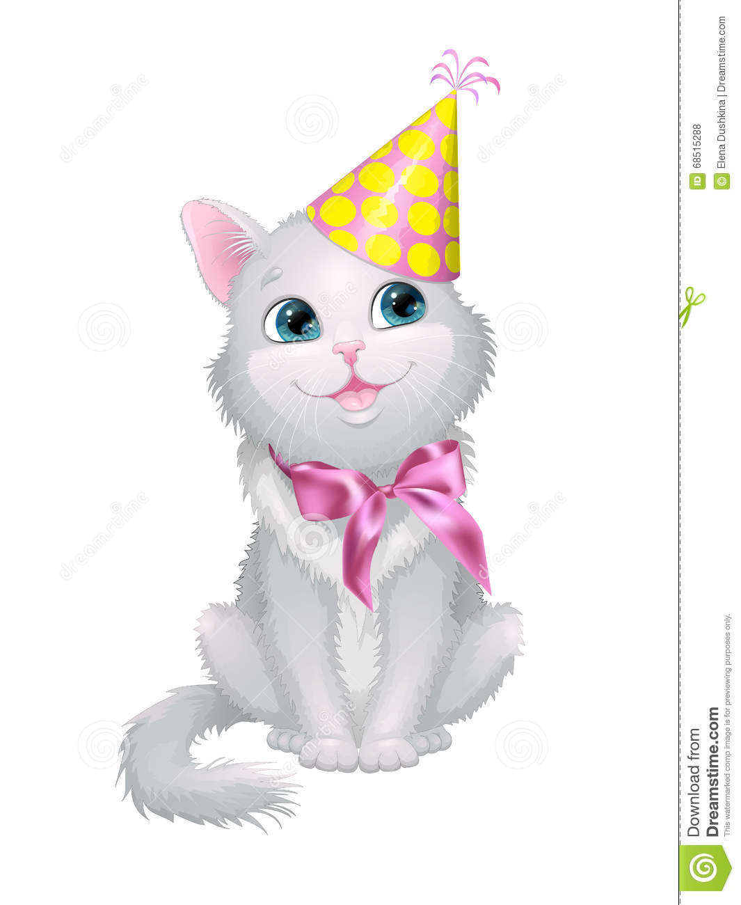 Illustration On White Background Cat In Birthday Cap With A Bow