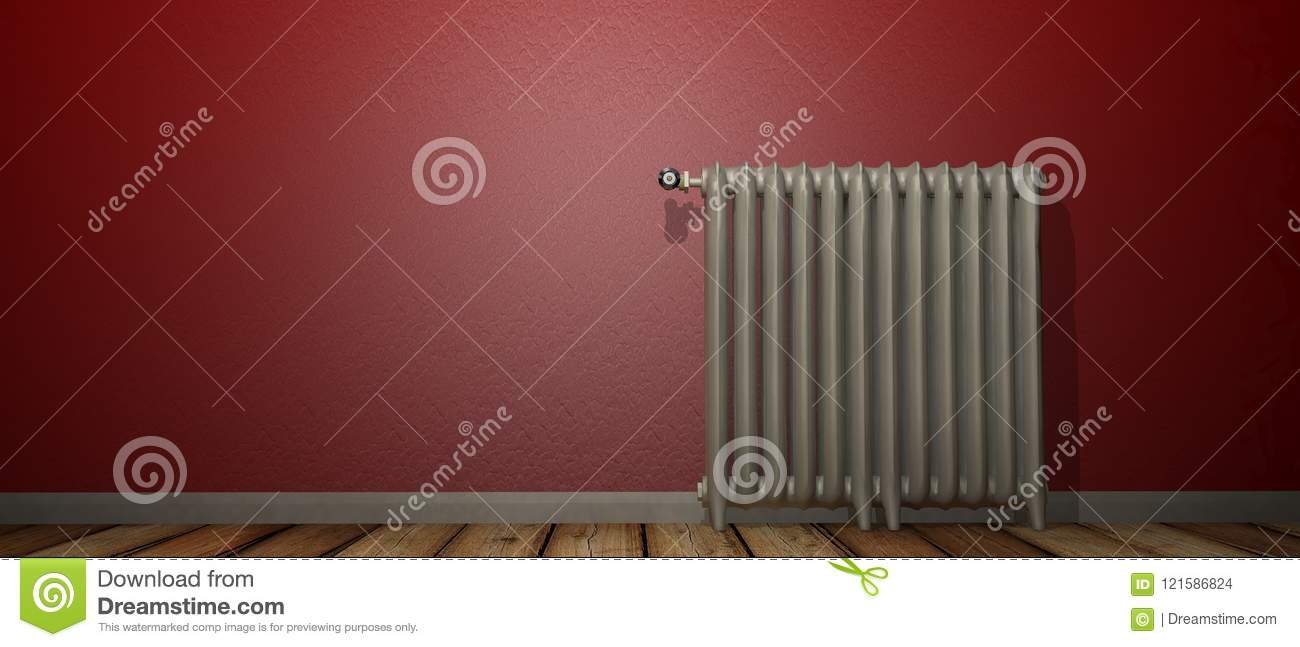 3D render of a radiator on a wood floor and against a red wall