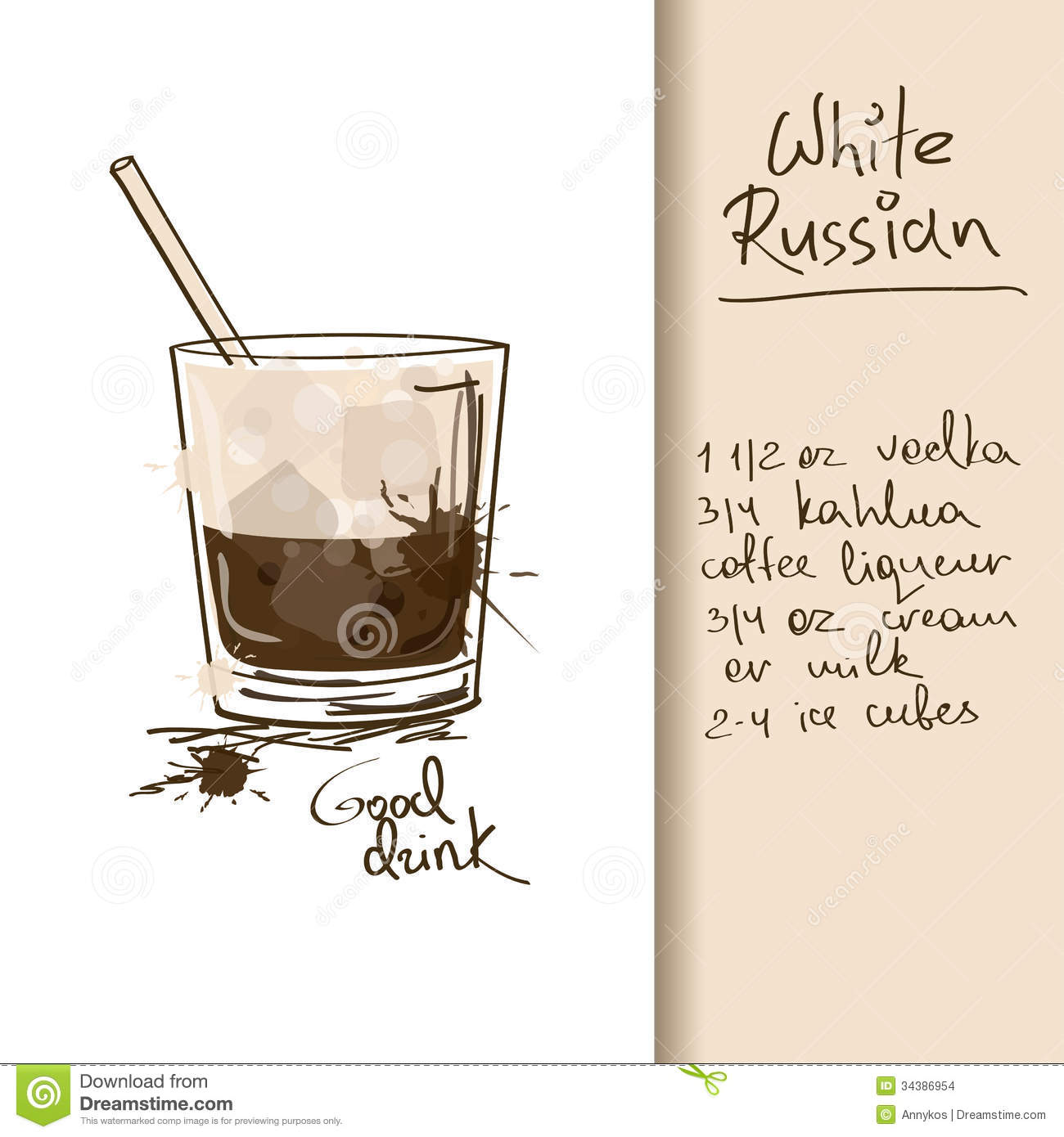 Illustration with white russian cocktail stock vector for Cocktail russe blanc
