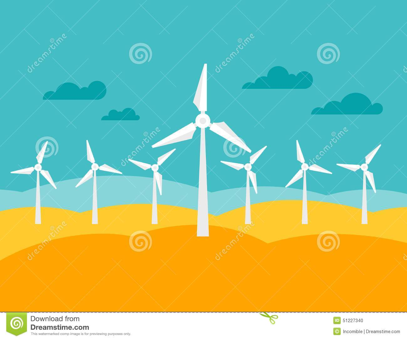 Illustration Of Wind Energy Power Plant In Flat Stock