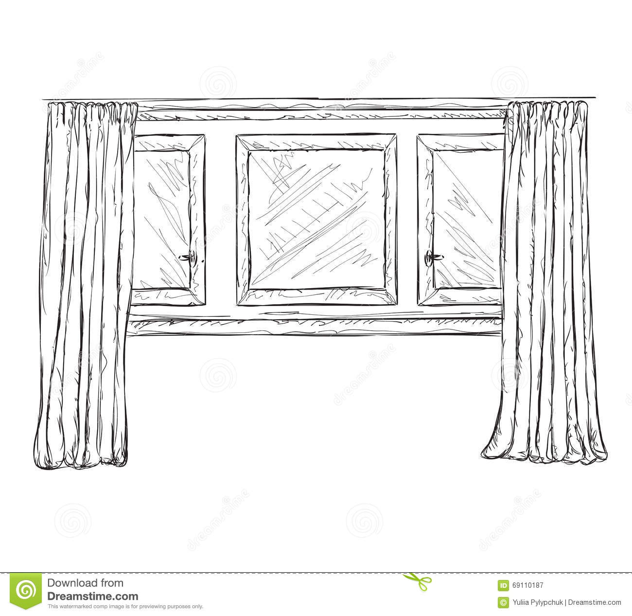 Illustration of window and curtains sketch stock vector for Window design sketch