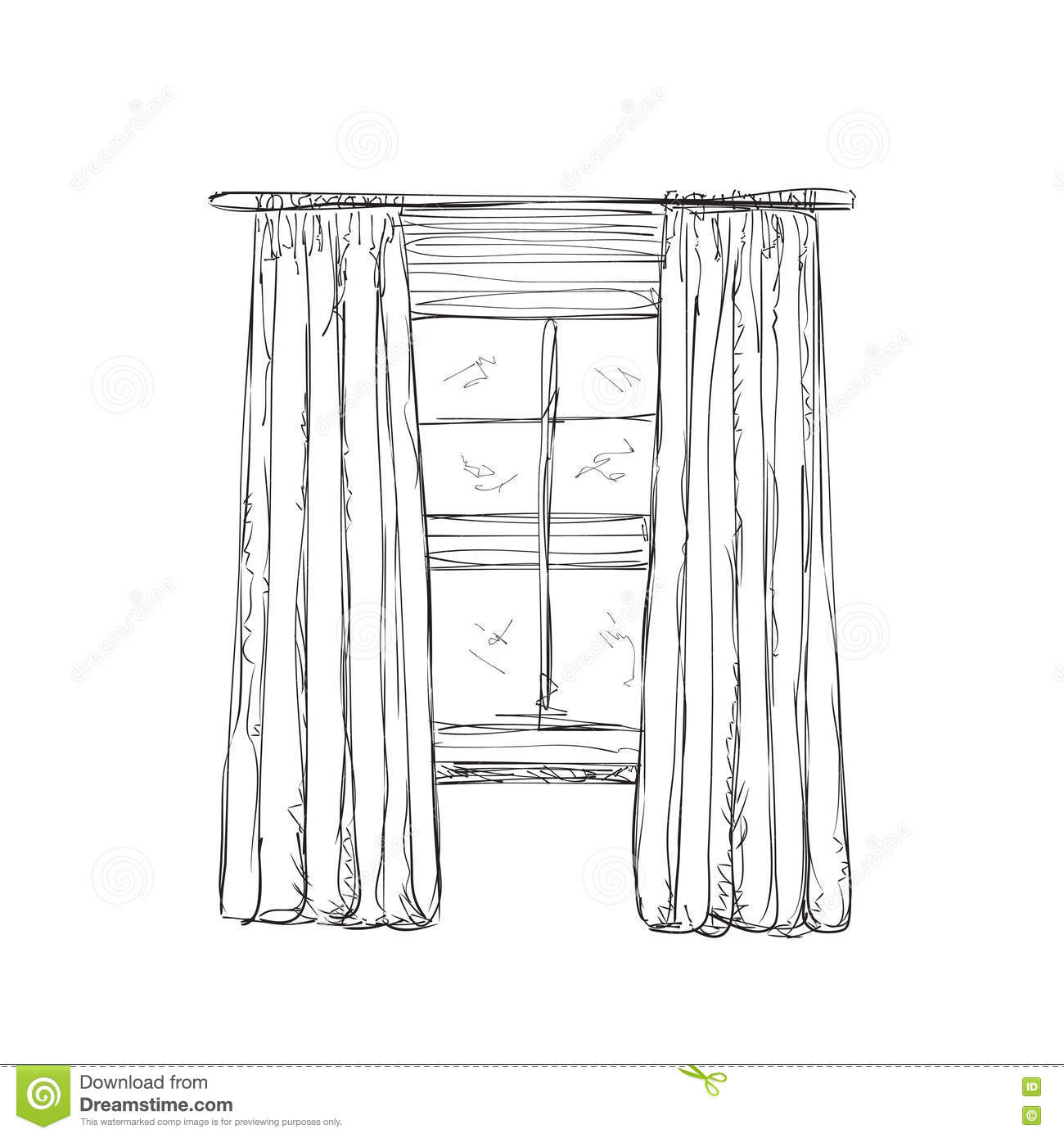 Illustration Of Window And Curtains Sketch Stock Vector - Illustration of vector, curtains: 71372826