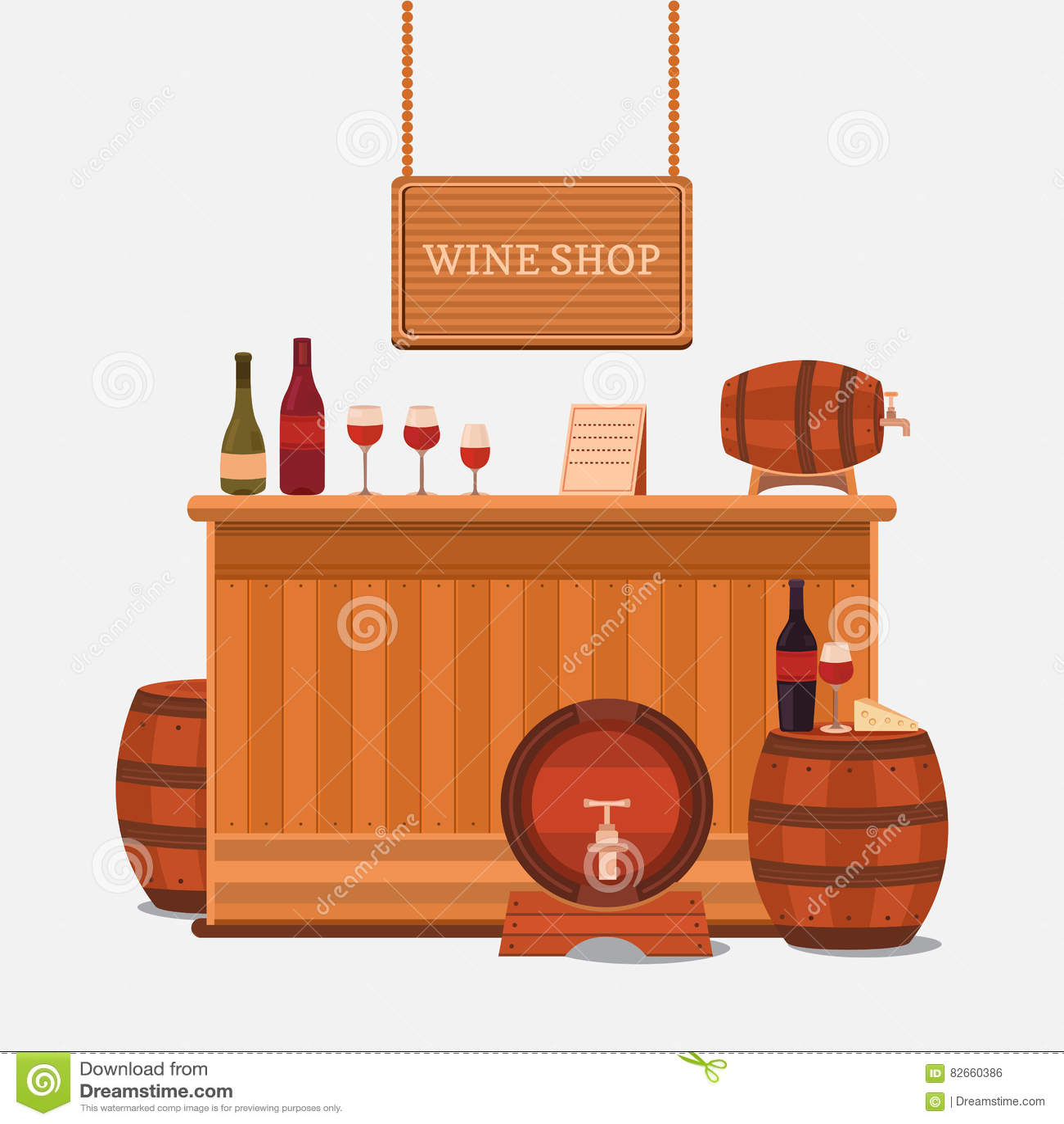 Illustration Of A Wine Shop Stock Illustration Illustration Of