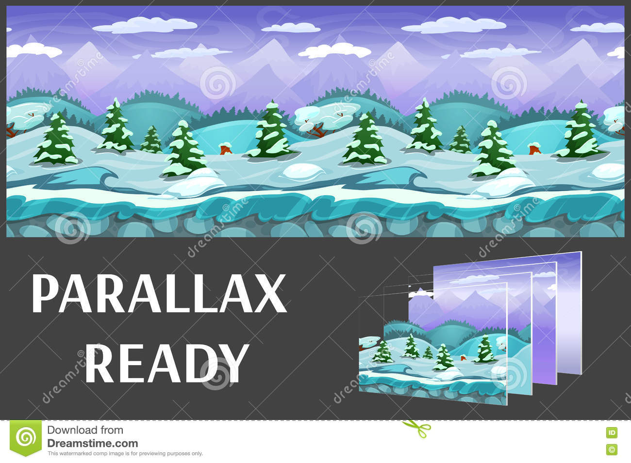Illustration of a winter nature landscape ,with ice, snow hills and mountains, vector unending background with separated layers.