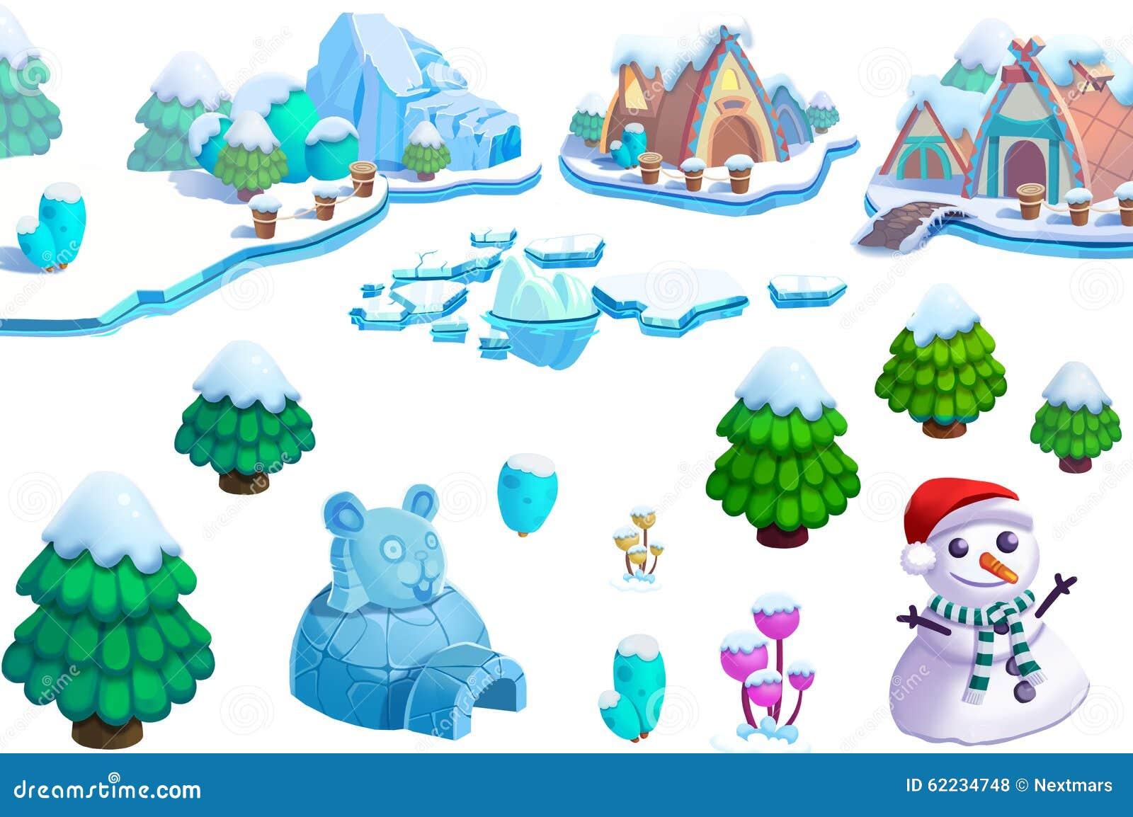 Illustration: Winter-Schnee-Eis-Weltthema-Element-Design Stellte 1 ...