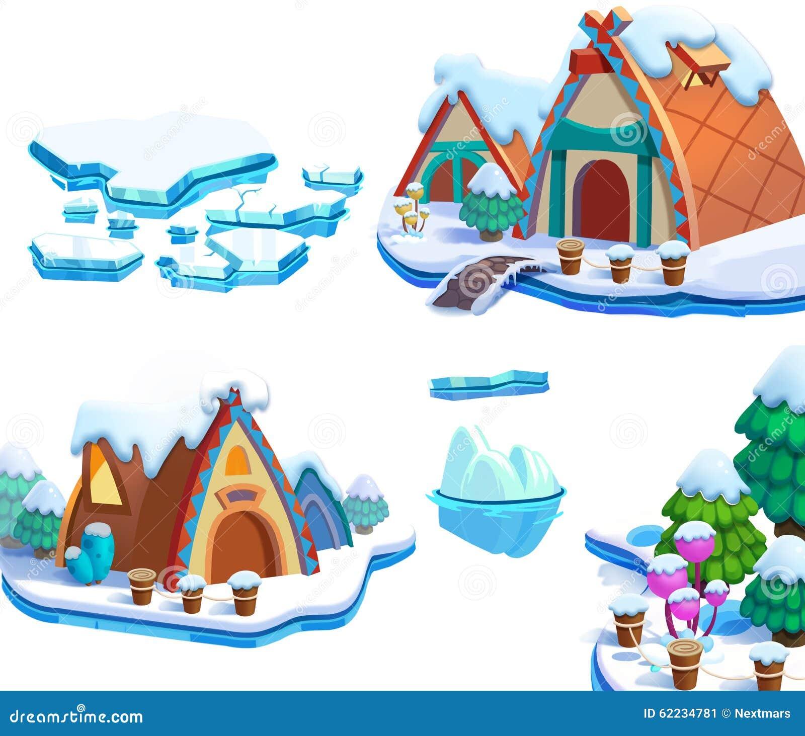 Illustration: Winter Snow Ice World Theme Elements Design