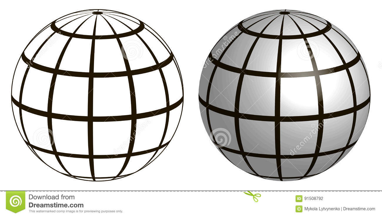 Illustration Of A Wire Frame Planet Sphere, Graticule Globe Stock ...