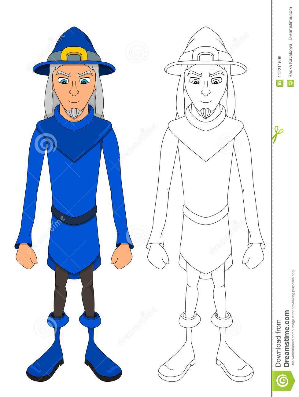 Blue Cartoon Wizard Coloring Page Stock Vector - Illustration of ...
