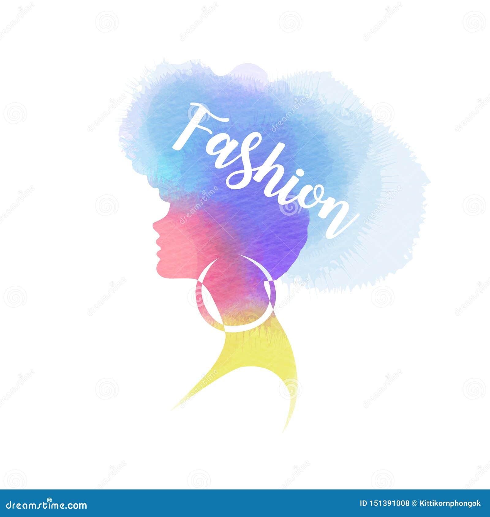Illustration of woman beauty salon silhouette plus abstract watercolor. Fashion logo. Digital art painting. Vector illustration